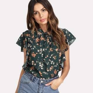 PO - Green Tie Neck Bow Ruffle Trim Floral Stand Collar Sleeveless Casual Blouse
