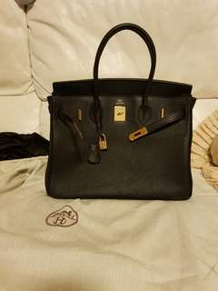Hermes Birkin 35 black togo leather replica