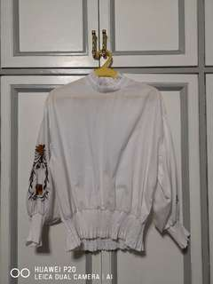 White Ruffled Top Zara ins