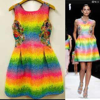 Shiatzy Chen rainbow colors lace with beads dress size F38