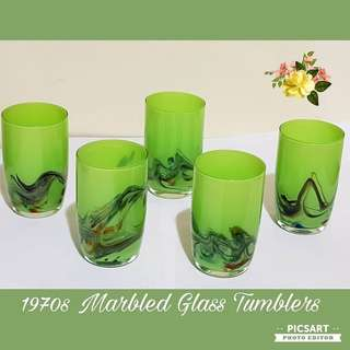 1970s Vintage Hand-Blown Marbled Glass Tumblers in Bright Green Background Colour. Size & detail per photo. Unused, Good Condition. A set of 5pcs for $10. Sms 96337309.
