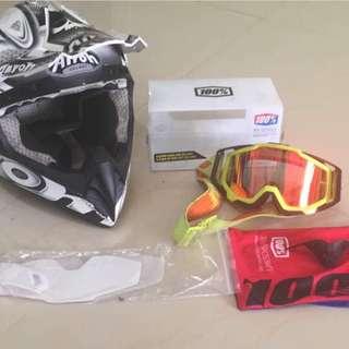 Airoh mx scrambler helmet & 100% goggle