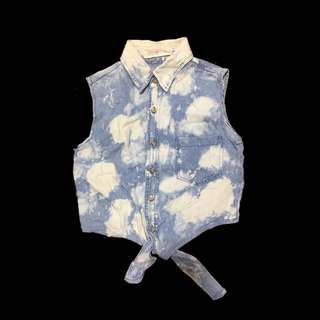 Acid Washed Button Down Tie Top