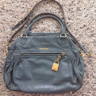Authentic Miu Miu 2-Way Distressed Leather Bag