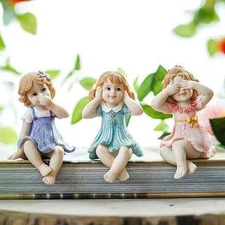 創意樹脂可愛3個娃娃擺件一套生日禮物  $169