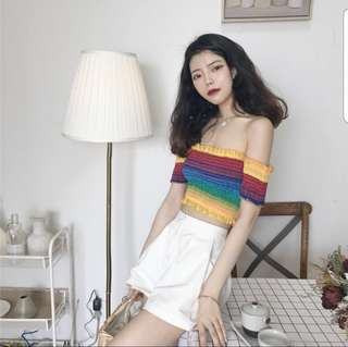 Jezerie Rainbow Off Shoulder Top
