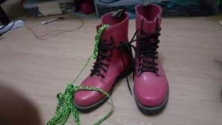 Dr.Martens Pink Boots with bouncing Soles