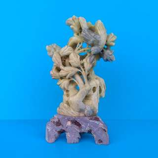 Vintage Chinese Zhejiang Sculpture Hand Carved Qingtian Stone (浙江青田石) Flowers And Bird Figurine