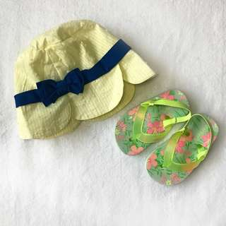 Periwinkle Hat and Carter Tropical Flip Flops for Kids