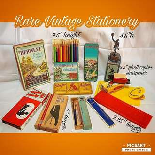 Rare Vintage Stationery: Colour Pencils, Mathematical Set, Stapler, Staedler Pen, Pencil Leads, Diecast Sharpener, Pencil Box, Note Clip. Sizes in Photo, detail below. All 11 items for $68 Clearance offer. Sms 96337309.