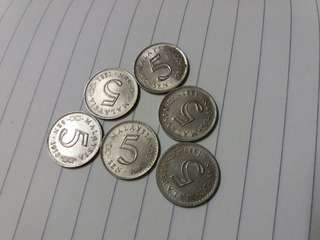 Lot Of 6pcs Parlimen 5cent
