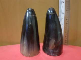 Genuine Buffalo Horn salt and pepper shaker set