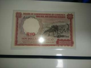 Big A 1961 Malaya $10 Buffalo
