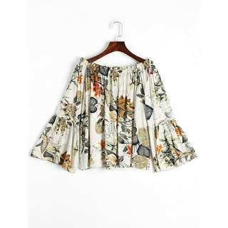 PO | Women's Fashion Leaves Print Bell Sleeve Blouse 🍃