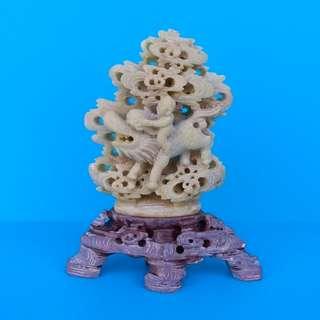 Vintage Chinese Zhejiang Sculpture Qingtian Stone (浙江青田石) Hand Carved Boy And Kirin (麒麟) Figurine