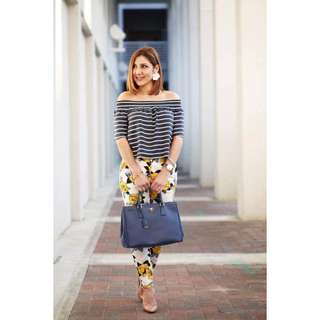 Off Floral Stripes Terno