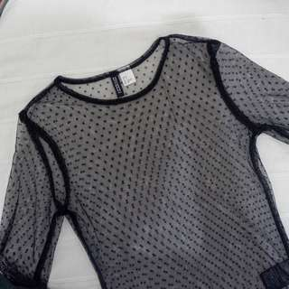 See-through long sleeve top