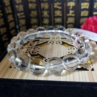 12mm巴西白水晶保平安生財發財手串