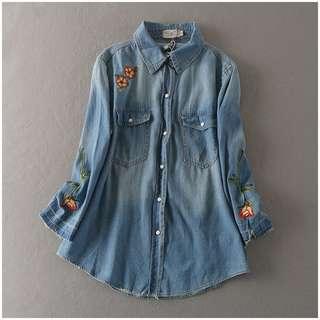 ❤️️ Denim blouse embroidery floral long sleeve women blouse button up denim