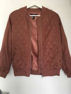 Dusty Rose Quilted Bomber Jacket