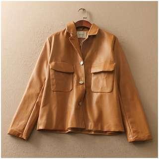 ❤️️ PU leather Jacket with lining Women Winter casual leather jacker blazer