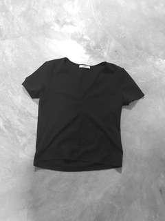 Zara basic black cropped TOP