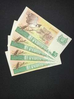 Singapore $5 bird series 4 pieces running banknotes