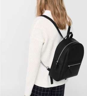 Mango Black Chain Backpack