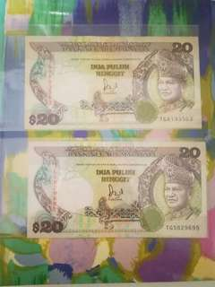 MALAYSIA RM20 6th Series x 2 pcs