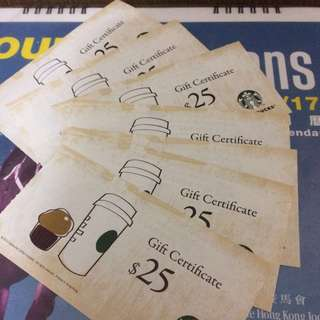 Starbucks 星巴克 $25 現金券 18張 禮券 (卷 gift voucher)
