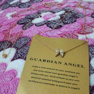 Tiny Heart x Angel Wings Necklace Set
