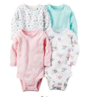 *6M* BN Carter's 4-Pack Long Sleeve Bodysuits For Baby Girl