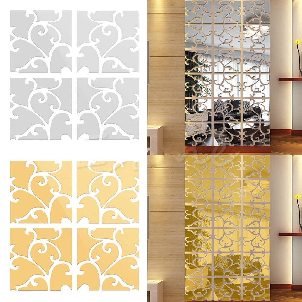 32pcs Gold/Silver Acrylic Modern Mirror Wall Sticker Removable ...