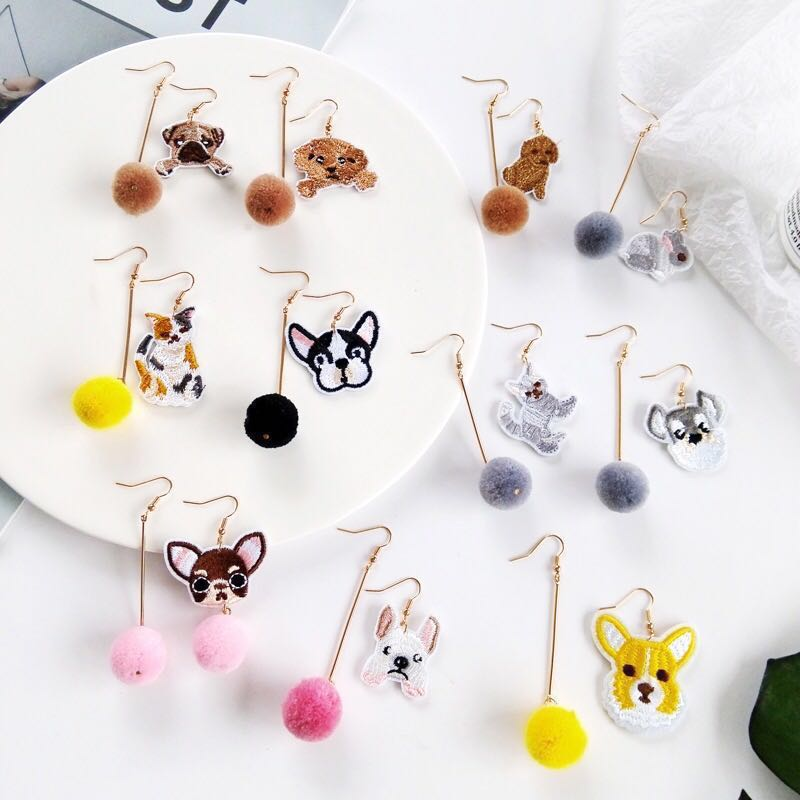 1f332a4cc74a8 ☘️ Asymmetrical neon colourful pet animal style Pom Pom quirky earrings