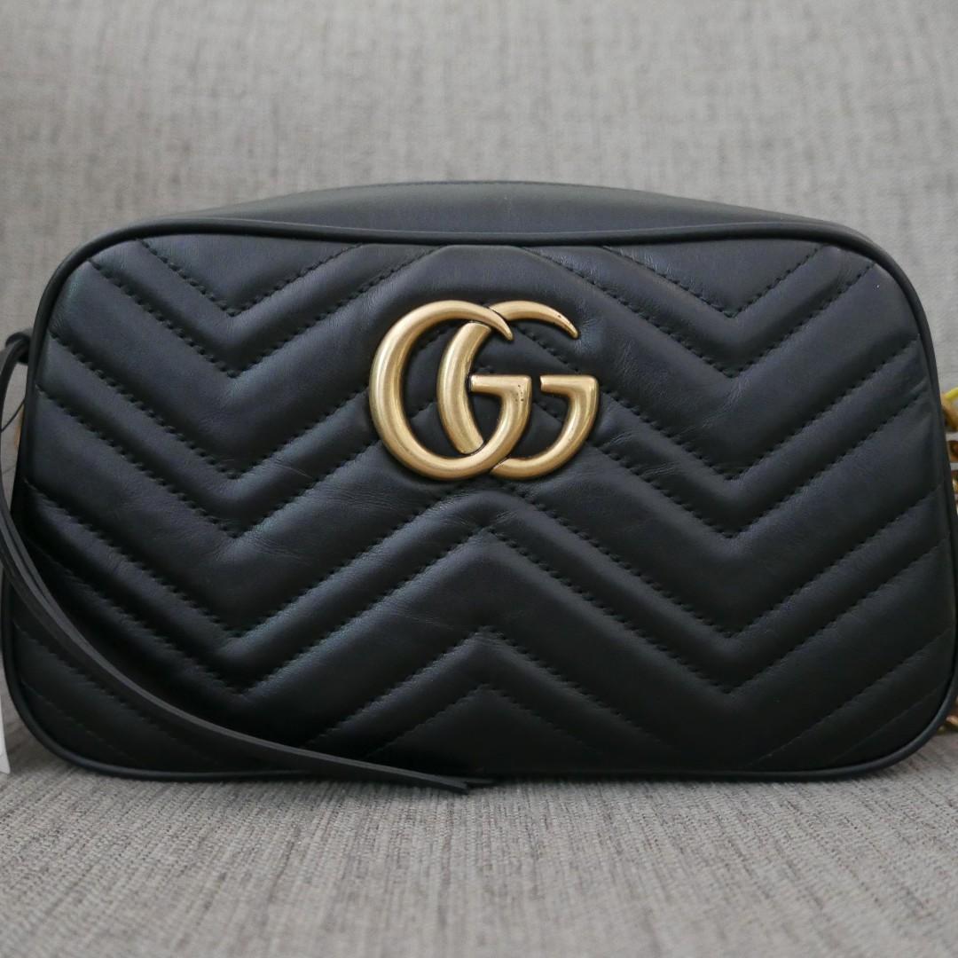 f2036418e67 Authentic Gucci GG Marmont Matelassé Small Bag Black