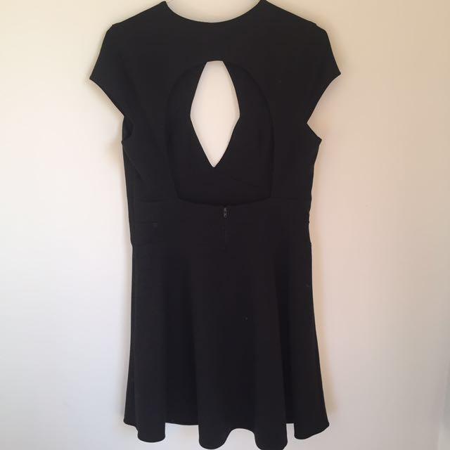 Black Keyhole Cut Out Skater Dress