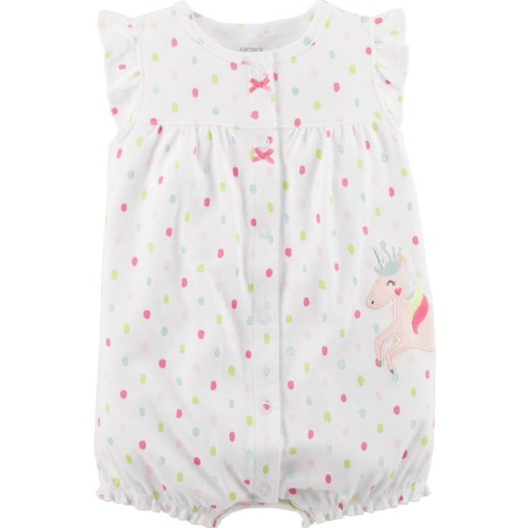 76625b520 BNIP   From US   Baby Girl  Unicorn Snap-Up Cotton Romper (12 months ...