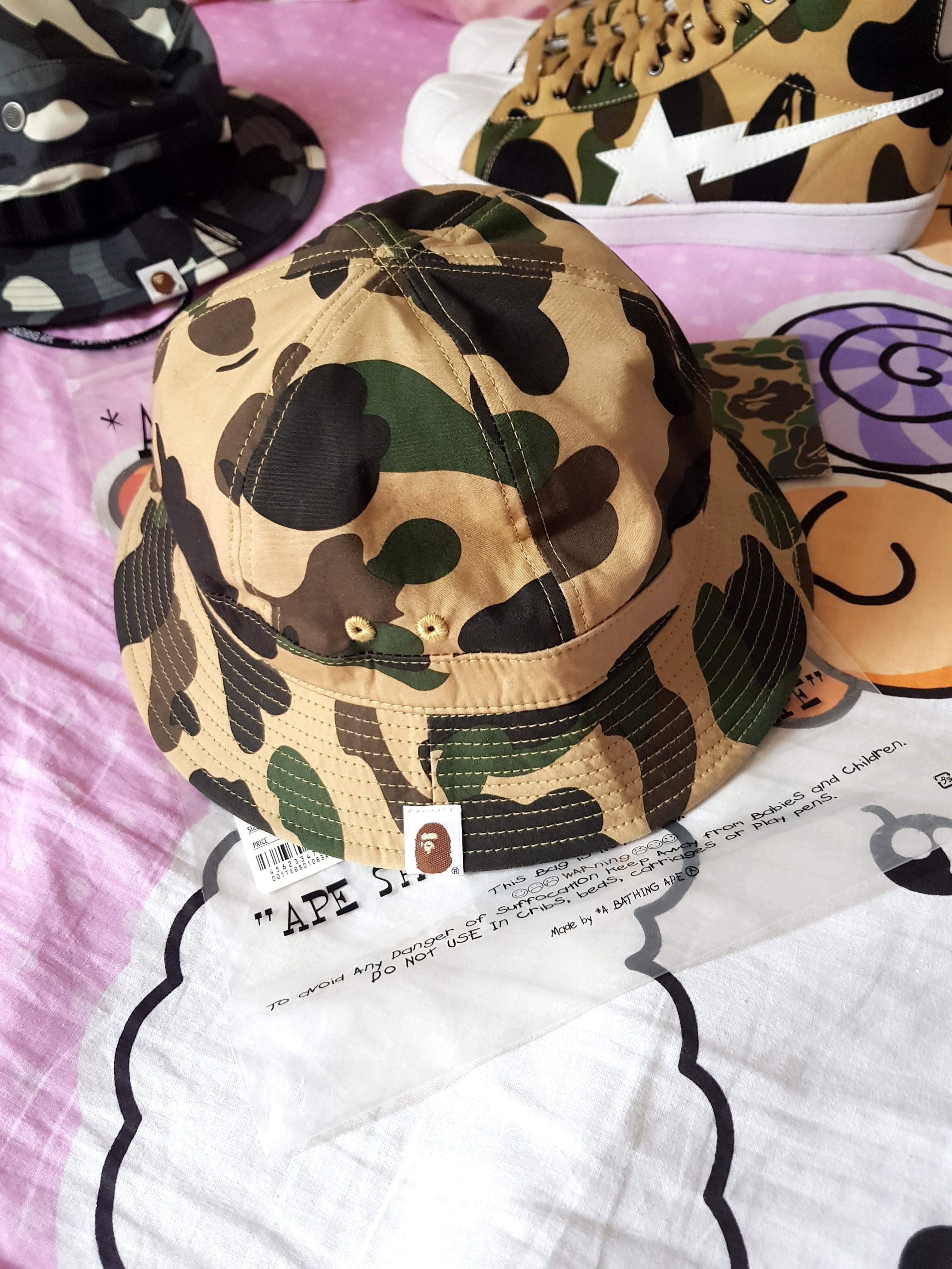 Brand New A Bathing Ape Bape 1st Yellow Camo Bucket Hat. 0a460cc4c1b