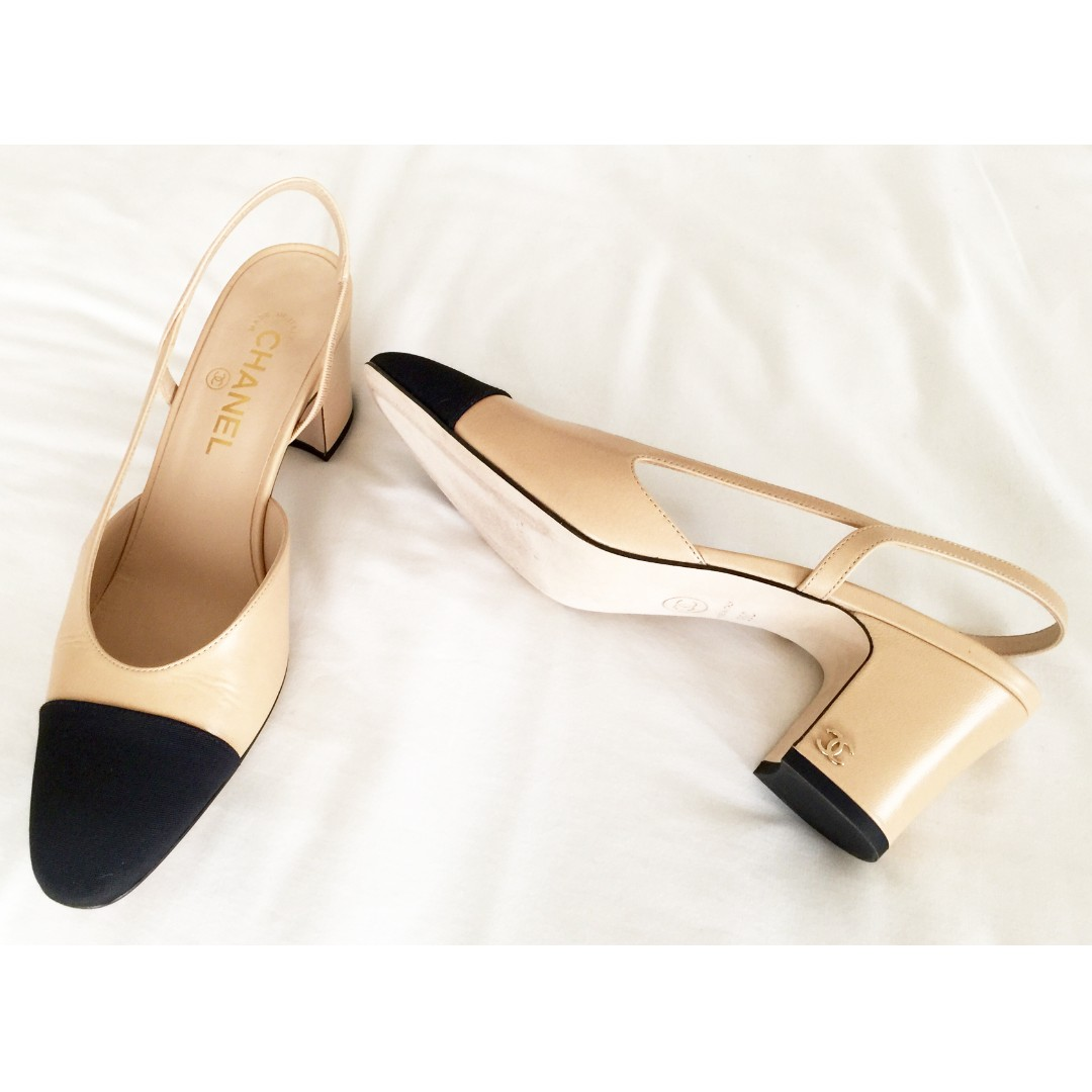 a1ee3107f Classic Chanel slingback leather shoes