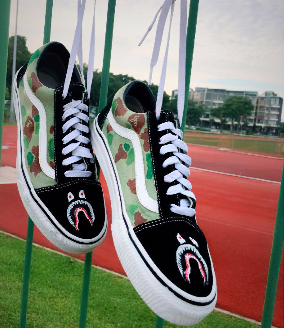 ed1ddece1ea89f Custom shoes - Vans Old Skool - handpainted Bape camo design