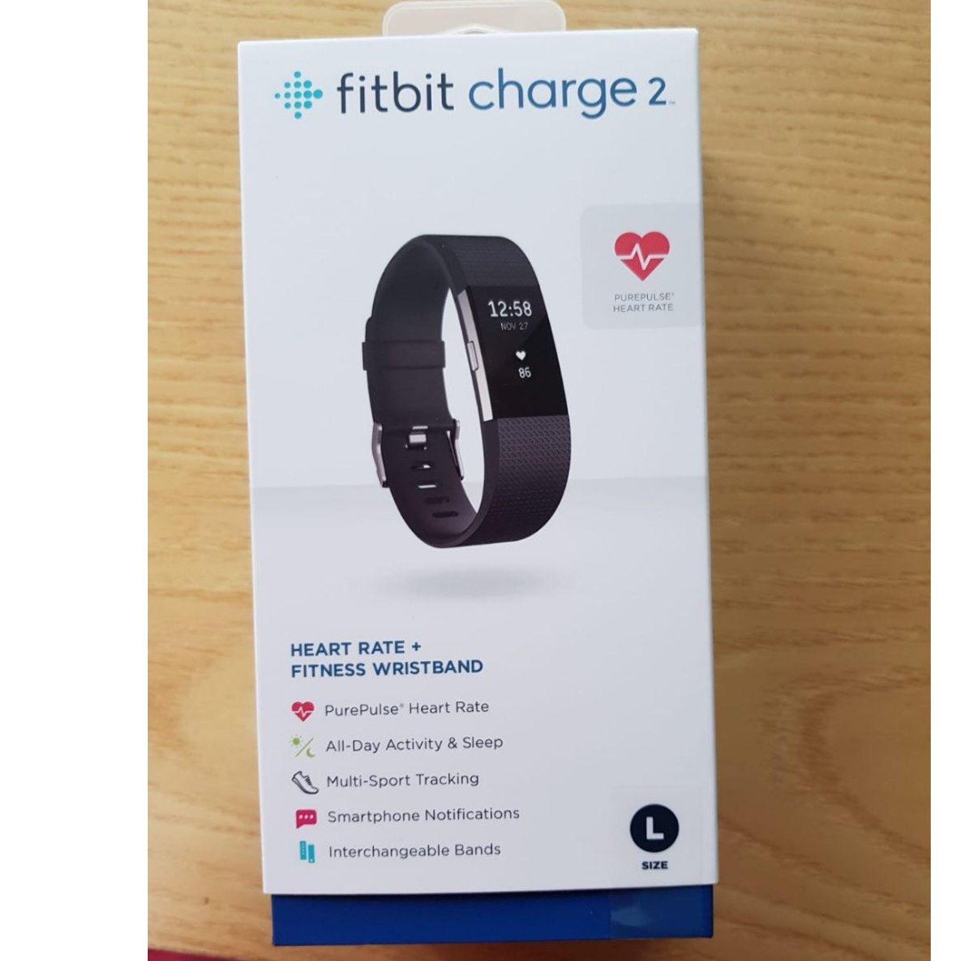 Fitbit Charge 2 - Black, Large