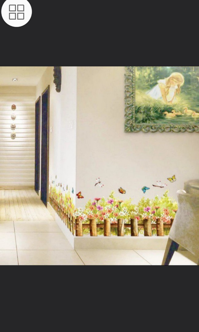 ✓instock baseboard wall stickers dream flower fence wall stickers
