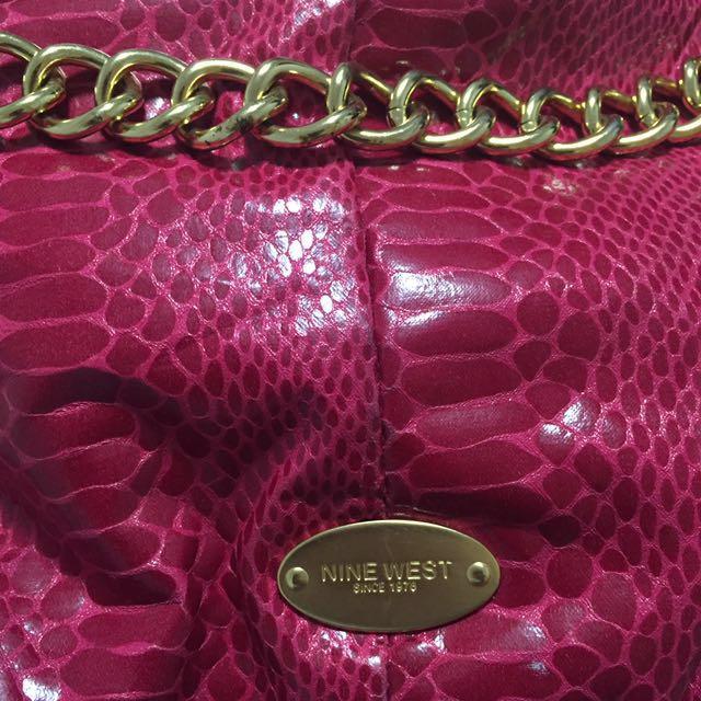 Nine West Magenta With Gold Details Bag