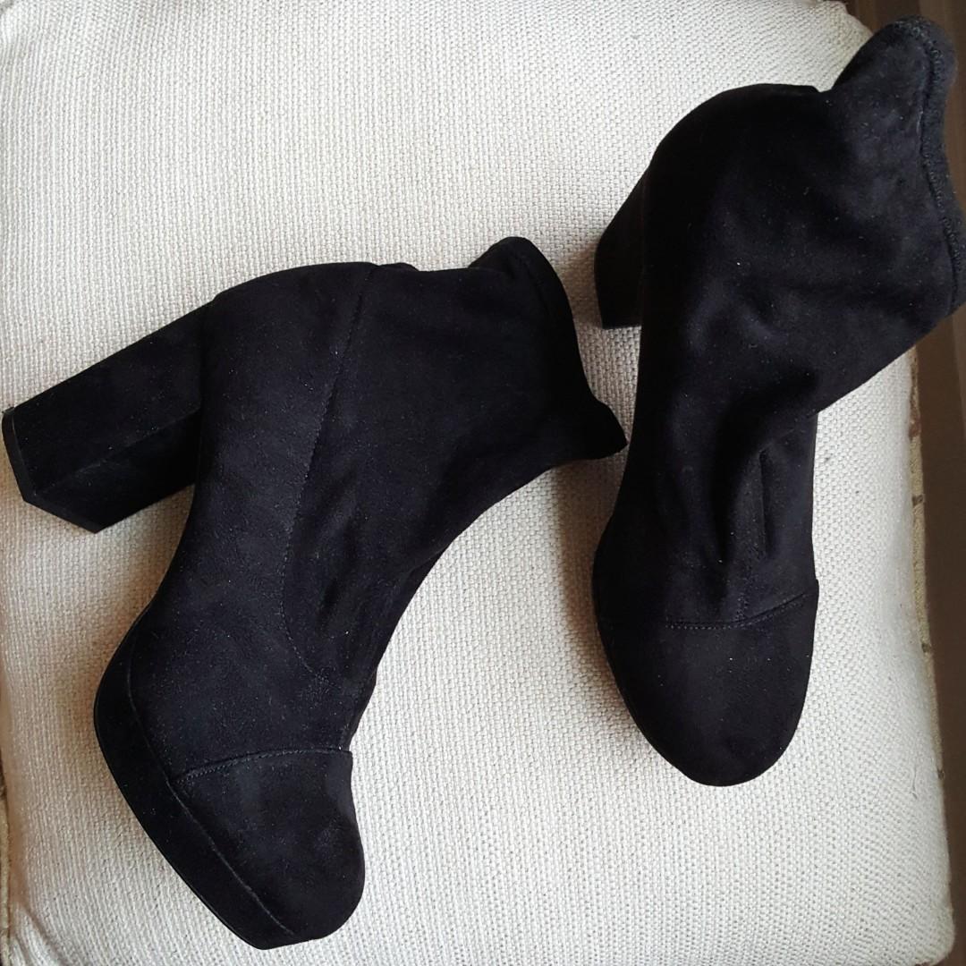Suede Sock Booties-  size 7.5