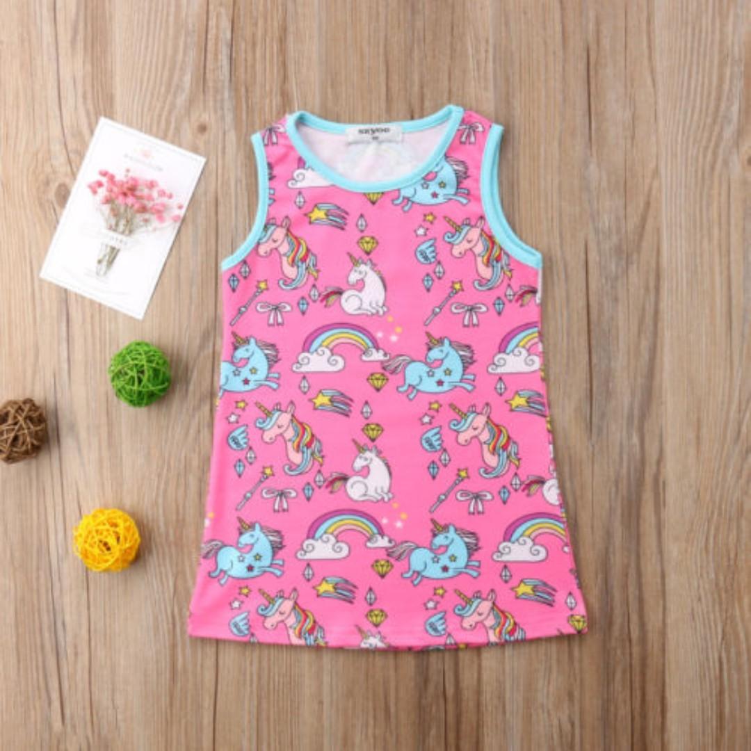 25e1dbf029d0 Toddler Kids Baby Girls boy Unicorn Print Dress Princess Sleeveless ...