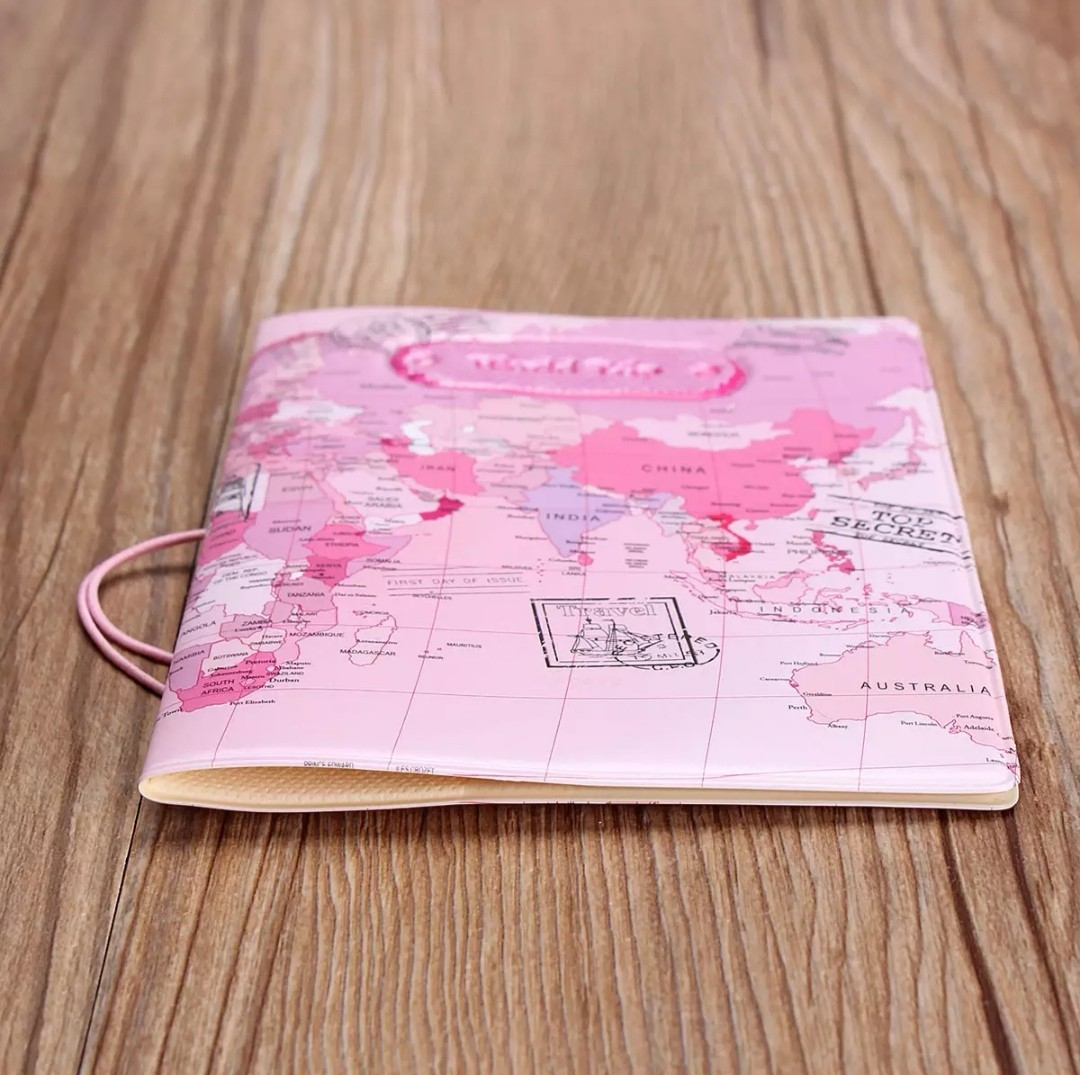 World map passport holder leather travel document case travel world map passport holder leather travel document case travel travel accessories on carousell gumiabroncs Image collections