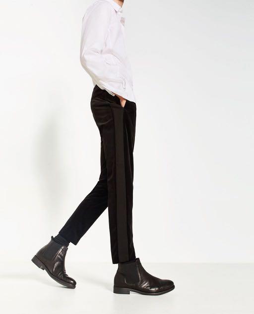 77a66278 Zara Black Velvet Slim Pants in 31, Men's Fashion, Clothes, Bottoms ...