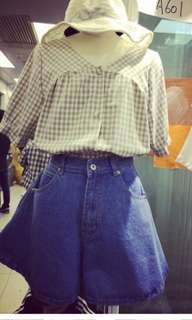 深藍高腰a字牛仔復古寬鬆短褲裙2xL