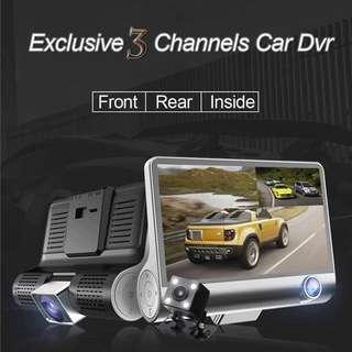 Exclusive Three Lens Car Camera Recorder (Front+Rear+Passenger) - Car DVR - Dual-Lens Car Camera - Dashcam - Reverse car camera - Vehicle Camera - 3 Lens Fisheye Car Cam Recorder - Dual Lens + Inside Vehicle Camcorder True FHD 1080P