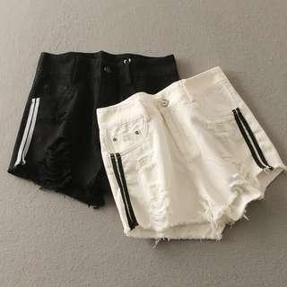 ❤️️ Short denim hot pants double line pockets shorts
